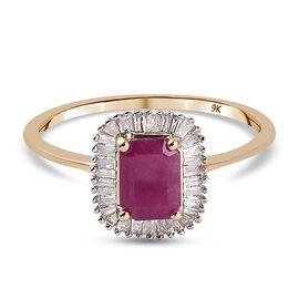 9K Yellow Gold Burmese Ruby and Diamond Ring 1.33 Ct.