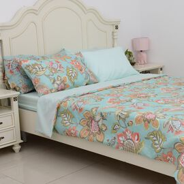 6 Piece Set - Mint and Multi Colour Floral Pattern Duvet Cover (Size 200x200 Cm), 4 Pillow Case (Siz
