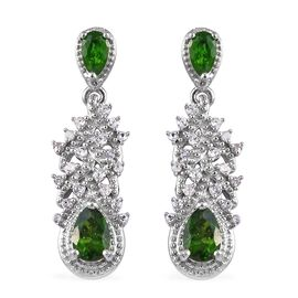 GP 1.75 Ct Russian Diopside and Multi Gemstone Dangle Earrings in Platinum Plated Silver