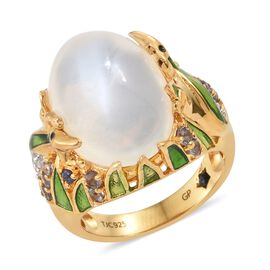 GP Sri Lankan White Moonstone (Ovl 12.00 Ct), Iolite, Natural Cambodian Zircon and Kanchanaburi Blue Sapphire Ring in 14K Gold Overlay Sterling Silver 12.500 Ct. Silver wt 8.02 Gms.