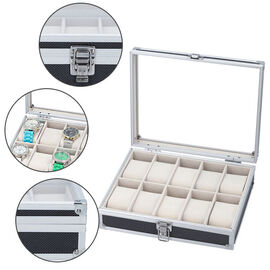 Eight Slot Padded Watch Box with Transparent Window and Lock (Size 21.5x20x8cm) - Black