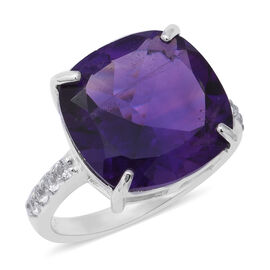 9.20 Ct Zambian Amethyst and Cambodian Zircon Solitaire Ring in Rhodium Plated Sterling Silver