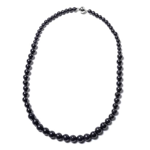 183.80 Ct Shungite Beaded Necklace with Magnetic Lock in Rhodium Plated Sterling Silver 20 Inch