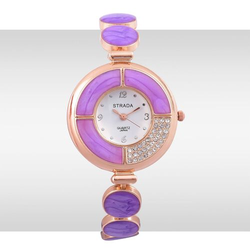 STRADA Japanese Movement White Austrian Crystal Purple Colour Enameled Watch in Rose Gold Tone with Stainless Steel Back