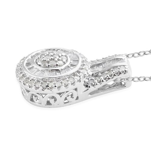 Designer Inspired- Diamond (Rnd and Bgt) Pendant with Chain (Size 20) in Platinum Overlay Sterling Silver 0.500 Ct.