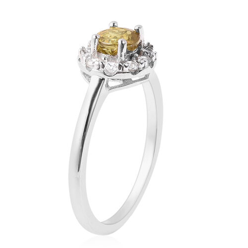 AA Sava Sphene and Natural Cambodian Zircon Ring in Rhodium Overlay Sterling Silver 1.15 Ct.