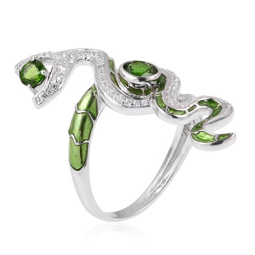 Limited Edition - Designer Inspired Russian Diopside (Rnd), Natural White Cambodian Zircon Snake Ring in Rhodium Plated with Enameld Sterling Silver 1.820 Ct. Silver wt 5.77 Gms.