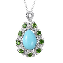 3.08 Ct Sleeping Beauty Turquoise and Multi Gemstone Teardrop Pendant with Chain in Sterling Silver