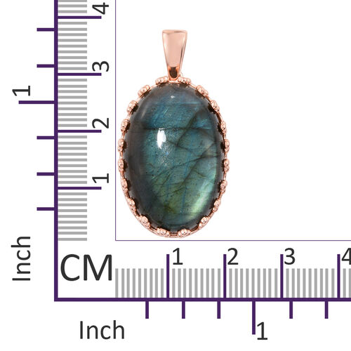 Extremely Rare Size Pauls Island Labradorite (Ovl 30x20mm) Pendant in Rose Gold Plated 43.040 Ct.