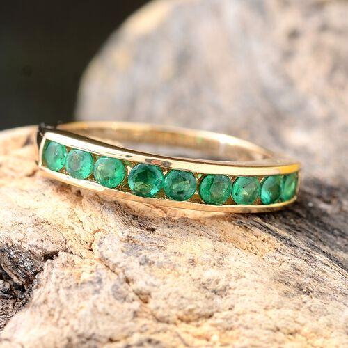 ILIANA 18K Yellow Gold AAAA Premium Santa Terezinha Emerald (Rnd) Half Eternity Ring 1.000 Ct.