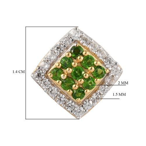 Russian Diopside and Natural Cambodian Zircon Earrings (with Push Back) in 14K Gold Overlay Sterling Silver 1.50 Ct.