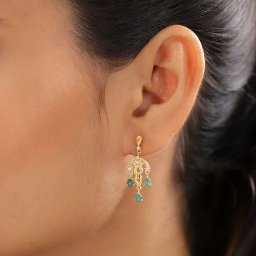 Grandidierite and Natural Cambodian Zircon Dangling Earrings (with Push Back) in 14K Gold Overlay Sterling Silver 1.09 Ct.