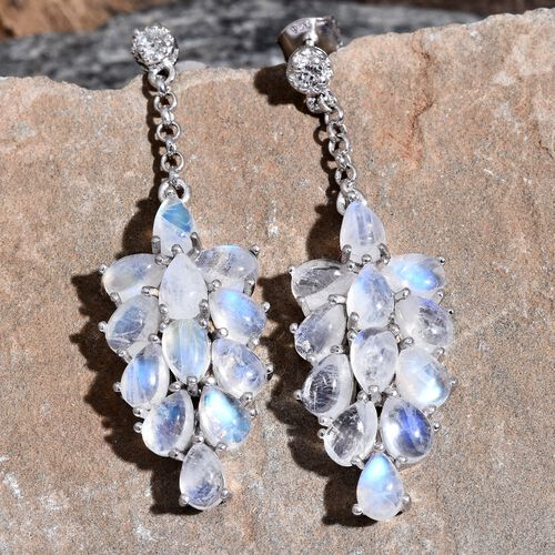 Sri Lankan Rainbow Moonstone (Pear), Natural Cambodian Zircon Dangle Earrings (with Push Back) in Platinum Overlay Sterling Silver 12.500 Ct. Silver wt. 6.73 Gms.
