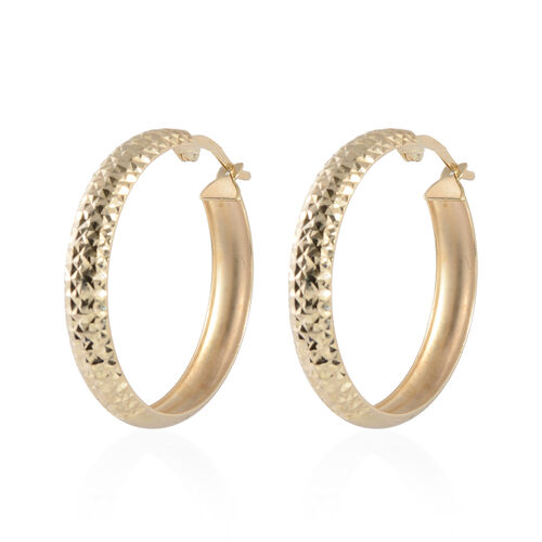 JCK Vegas Hoop Earrings in 9K Gold 2.15 Grams
