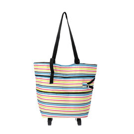 Reusable and Foldable Two Way Shopping Bag with Wheels (Size 50x20x40 Cm) - Yellow
