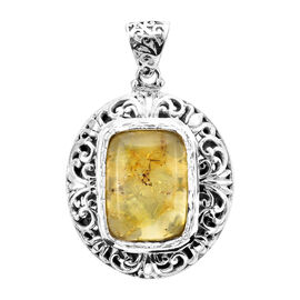 Royal Bali Collection - Baltic Amber Pendant in  Sterling Silver 11.55 Ct, Silver Wt 16.73 Gms