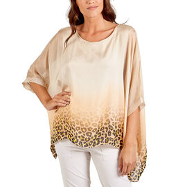 DOD - Nova of London Premier Collection 100% Silk Leopard Pattern Top in Stone (Size 10-18)