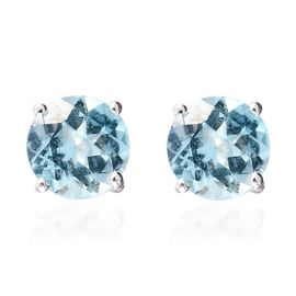 Skyblue Topaz Solitaire Stud Earrings (with Push Back) in Sterling Silver 2.50 Ct.