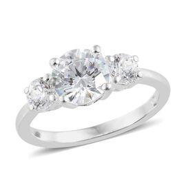 J Francis - Sterling Silver (Rnd) Three Stone Ring Made with SWAROVSKI ZIRCONIA