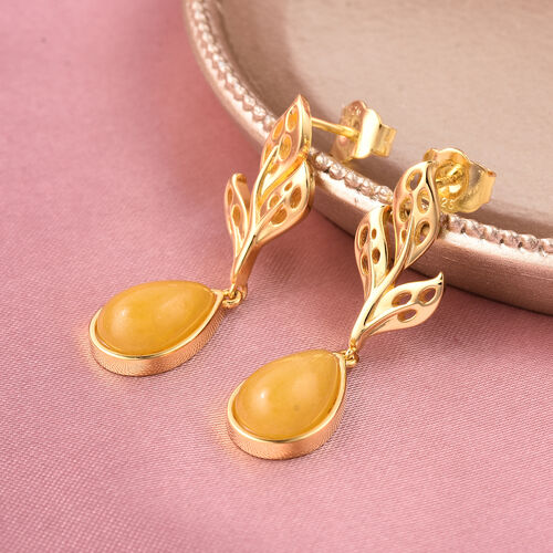 RACHEL GALLEY - Yellow Jade Drop Earrings (with Push Back) in Yellow Gold Overlay Sterling Silver