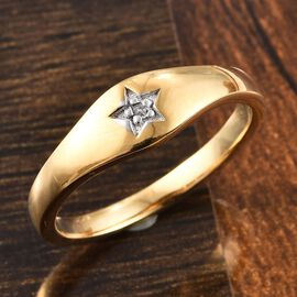 Diamond Star Ring in 14K Gold Overlay Sterling Silver