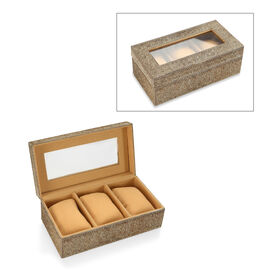 Grey Hair-on Natural Leather Watch Box with Three Sections (Size 21x11x7.5 Cm)