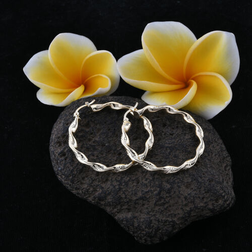 Royal Bali Collection 9K Yellow Gold Hoop Earrings (With Clasp Lock), Gold wt 2.55 Gms.