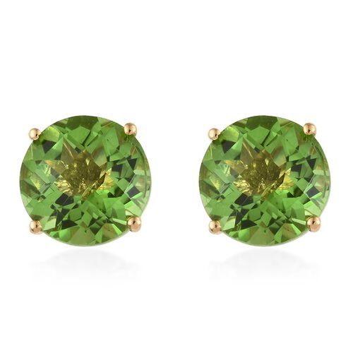 Chartreuse Quartz (Rnd) Stud Earrings (with Push Back) in 14K Gold Overlay Sterling Silver 12.750 Ct.
