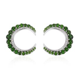 Russian Diopside (Rnd), Natural  Cambodain White Zircon Hoop Earrings (with Clasp) in Rhodium Overlay Sterling Silver 4.350 Ct, Silver wt 7.58 Gms.