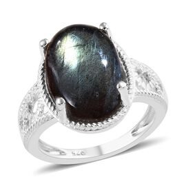 Labradorite (Ovl 14x10 mm) Solitaire Ring in Sterling Silver 7.00 Ct.