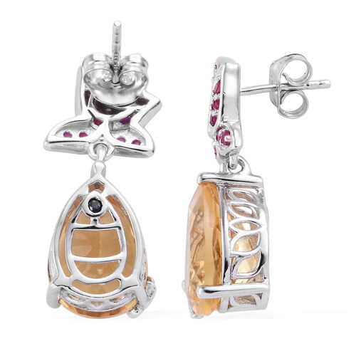 GP Citrine (Pear 14x10 mm), Burmese Ruby and Kanchanaburi Blue Sapphire Earrings (with Push Back) in Platinum Overlay Sterling Silver 5.560 Ct,