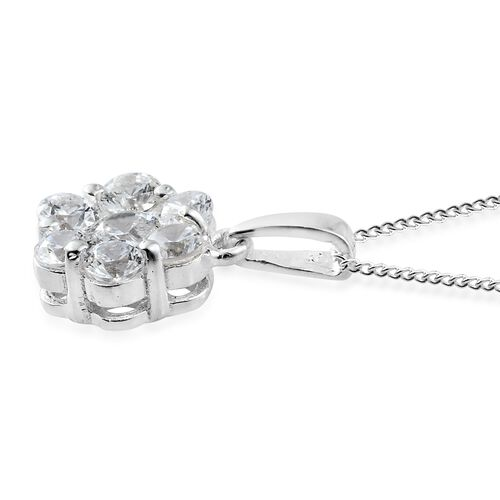 J Francis - Sterling Silver (Rnd) 7 Stone Floral Pendant With Chain Made with SWAROVSKI ZIRCONIA