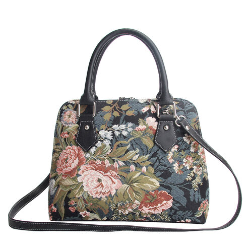 SIGNARE - Tapestry Convertible Shoulder Bag with Removable Strap in Peony Design (36 x 23 x 12.5 cms)