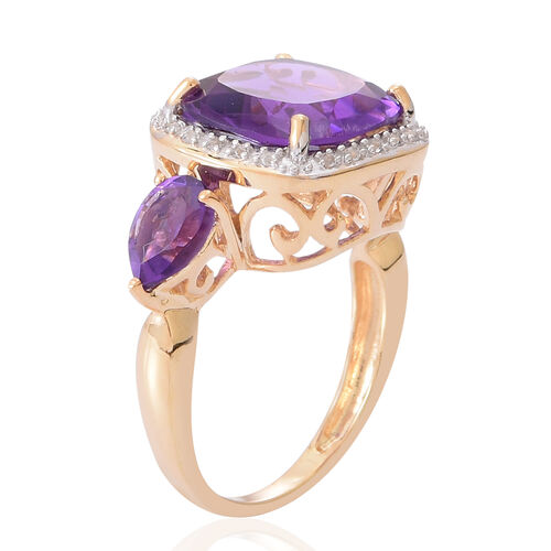 Amethyst (Cush 6.00 Ct), White Topaz Ring in 14K Gold Overlay Sterling Silver 7.250 Ct.