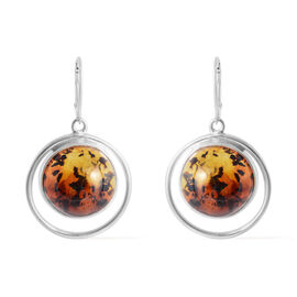 Bi- Colour Champagne Baltic Amber (Rnd) Lever Back Earrings in Sterling Silver, Silver wt 11.50 Gms