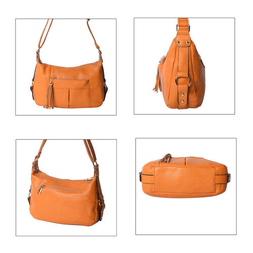 100% Genuine Leather Solid Mustard Crossbody Bag with Tassel and Adjustable Strap (29x10x21cm)