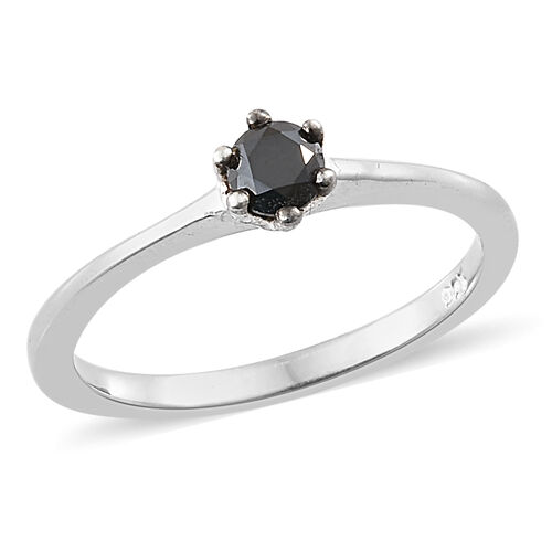 Mega Day Deal- 25 Point Solitaire Black Diamond Ring in Platinum Overlay Sterling Silver