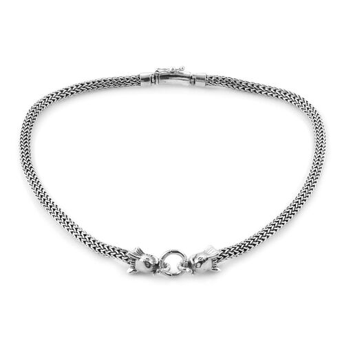 Royal Bali Collection Sterling Silver Elephant Head Tulag Naga Necklace (Size 20), Silver wt 97.00 G