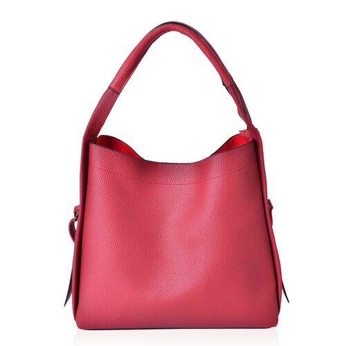 Set of 3 - Red Colour Tote Bag (Size 33X31X12.5 Cm), Sling Bag (Size 29X24X10 Cm) and Wristlet Bag (Size 23.5X14.5 Cm)