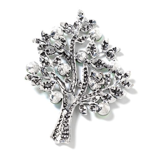 Simulated Peridot (Rnd), Green Austrian Crystal Tree of Life Brooch in Silver Plated