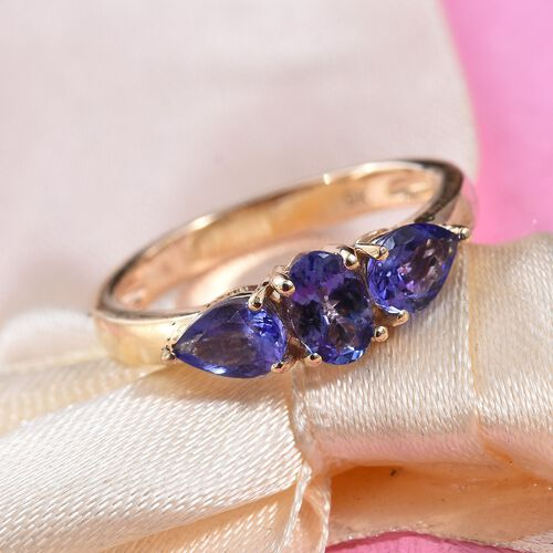 9K Yellow Gold AA Tanzanite (Ovl and Pear) Trilogy Ring 0.95 Ct.