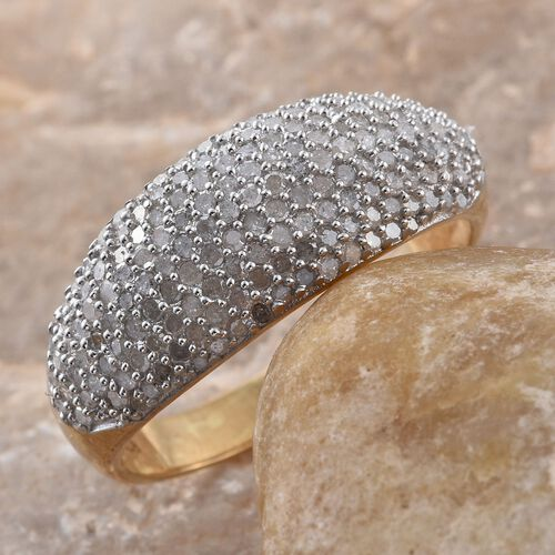 Diamond (Rnd) Cluster Ring in 14K Gold Overlay Sterling Silver 1.010 Ct.