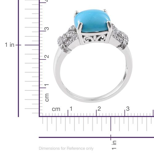 Arizona Sleeping Beauty Turquoise (Cush 4.05 Ct), White Topaz Ring in Platinum Overlay Sterling Silver 4.500 Ct.