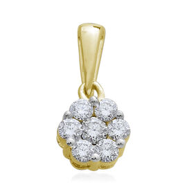 9K Yellow Gold SGL Certified Pressure-Set Diamond (Rnd) (I3/G-H) Floral Pendant 0.500 Ct.