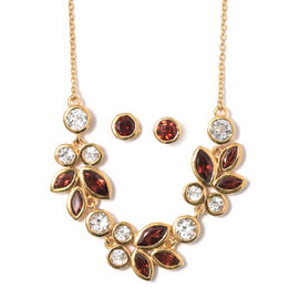 Mozambique Garnet (Mrq), White Topaz Leaf Necklace with Chain (Size 18) and Stud Earrings (with Push