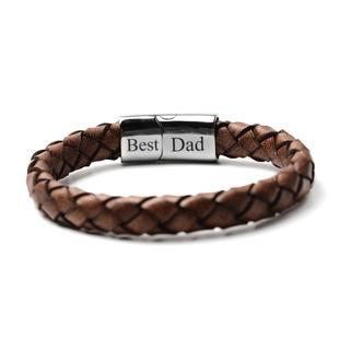 Personalised Men's Secret Message Leather Bracelet