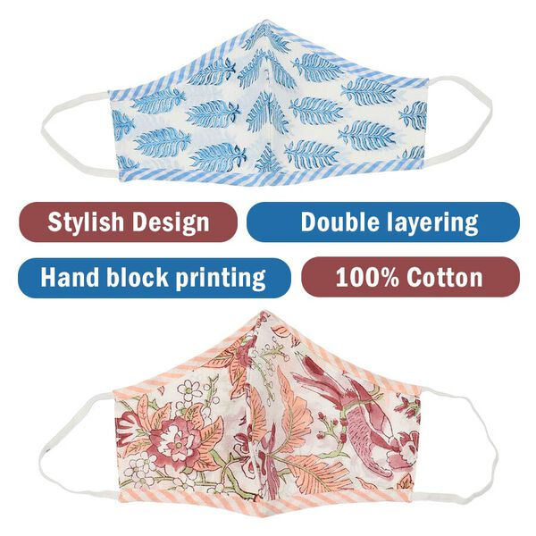 Set of 2 - 100% Cotton Hand Block Printed Reusable Double Layer Face Cover (One Size Fits All) - Purple and Blue