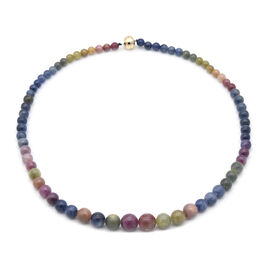 Limited Availability - 9K Yellow Gold AAA Rainbow Sapphire Necklace with Magnetic Lock  (Size 20) 30