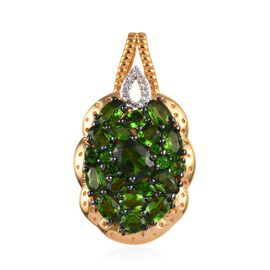 GP 4 Carat Russian Diopside and Multi Gemstone Cluster Pendant in 14K Gold Plated Silver 5.72 Grams