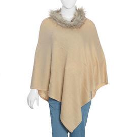 100% Cashmere Wool Beige Colour Pashmina Poncho (Size 70x70 Cm)